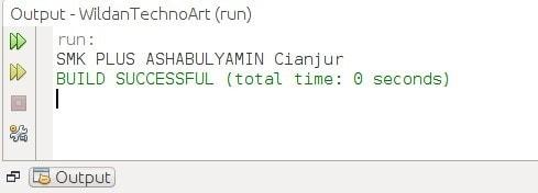 Output dari statement switch menggunakan tipe data String