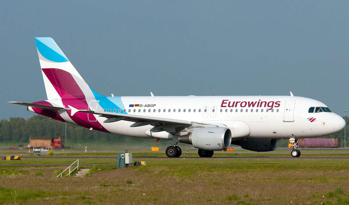 The Eurowings Airbus A319-100 While Taxiing Runway
