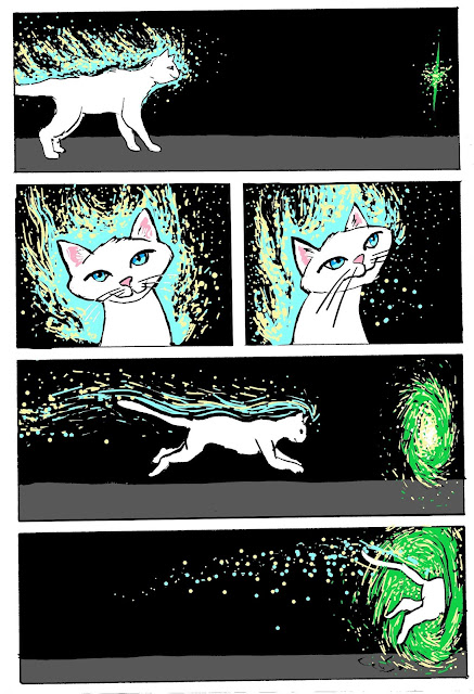 Charlie Cat jumps through a portal into another universe. A webcomic from David Borden