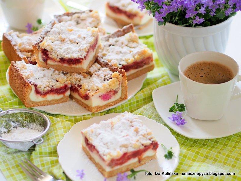 ciasto serowo rabarbarowe, z kruszonka, rabarbar na kruchym ciescie, masa twarogowa, ciasto do kawy, domowe wypieki, moje wypieki