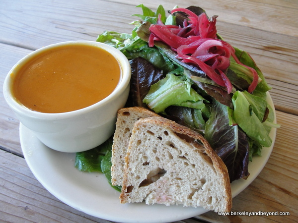 carrot soup and salad at Boonville General Store in Boonville, California