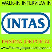 Intas Pharmaceuticals Ltd. Walk in Interview For FRESHERS, B.Sc, M.Sc, M.Pharm, B.Pharm at 21  September
