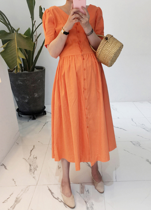 Button-Front Short Sleeve Midi Dress