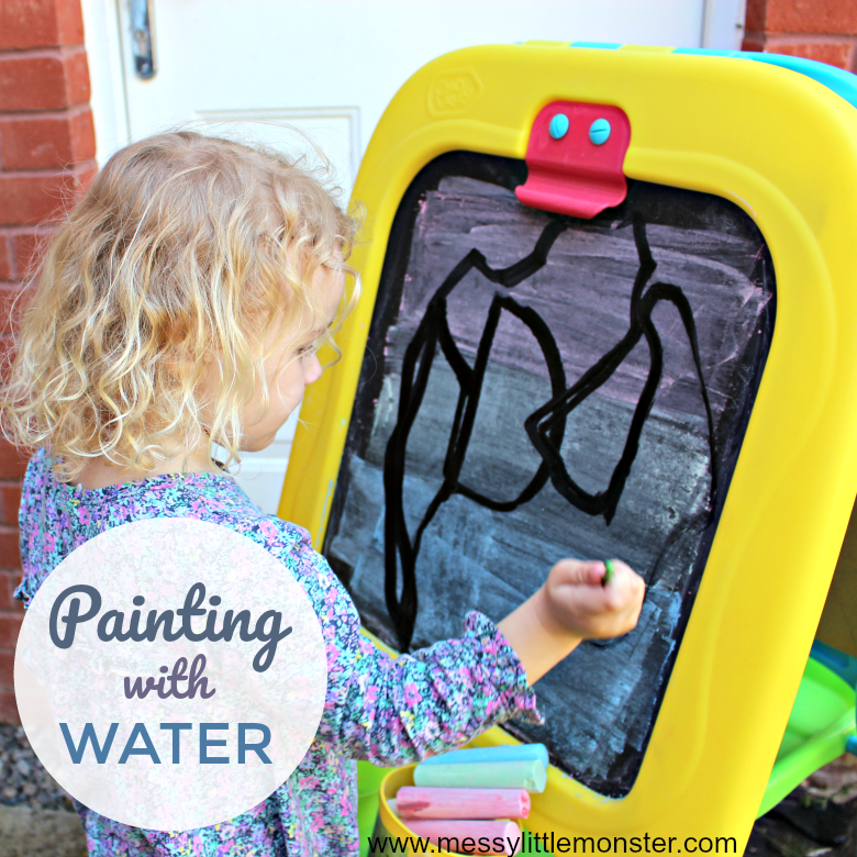 Painting with water - Easy Outdoor Art Ideas for Kids - large scale, messy, nature inspired art activities for toddlers, preschoolers and school aged kids to do outside.