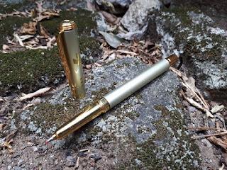 Pulpen Mewah Moonoval 307A New Metal Roller Ball Silver Gold Luxury Pen