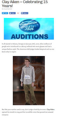 Picture of post from Clay Aiken News Network, with American Idol logo and photo of Clay at first audition