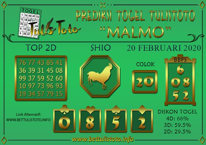 Prediksi Togel MALMO TULISTOTO 20 FEBRUARI 2020