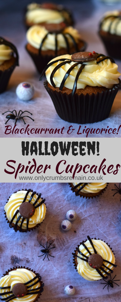 These fun cupcakes are perfect for Halloween parties.  Using the scary spider as the inspiration these cupcakes are topped with a homemade spider with liquorice legs atop of a yummy blackcurrant cupcake.