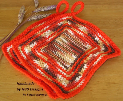 Bright Orange and Browns Potholder Set of 2 - Handmade Crochet By Ruth Sandra Sperling - RSS Designs In Fiber