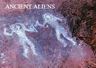 Cave paintings of ancient Alien astronauts.