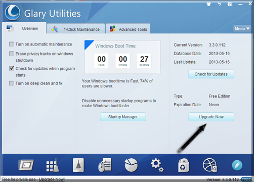 "Open up Glary Utilities Professional Edition 3.3 and click "" Upgrade Now "" at the right side ."