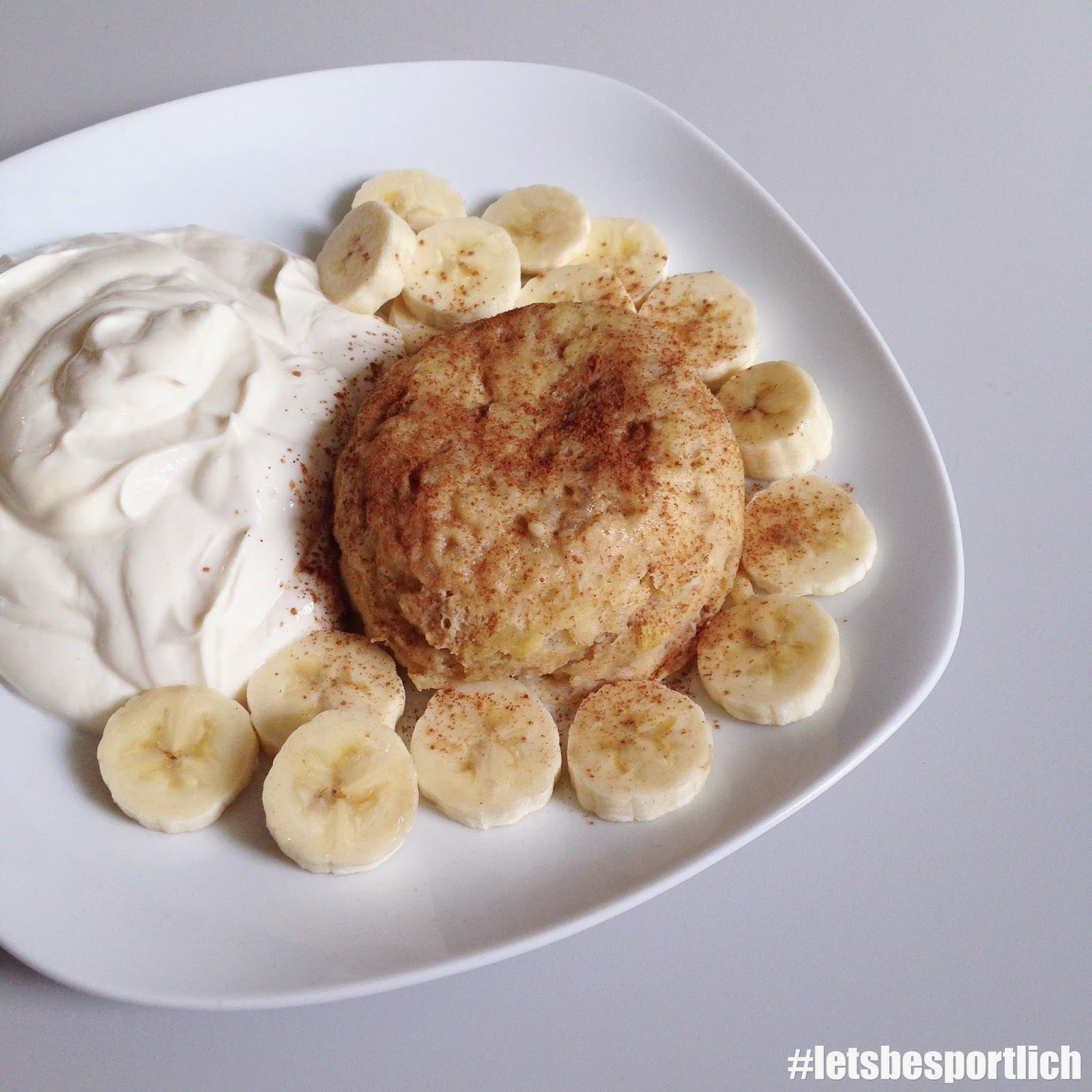 Letsbesportlich Bananen Protein Mugcake Mikrowellenkuchen