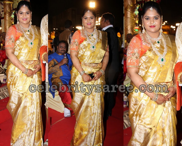 Gold Uppada Saree Orange Blouse