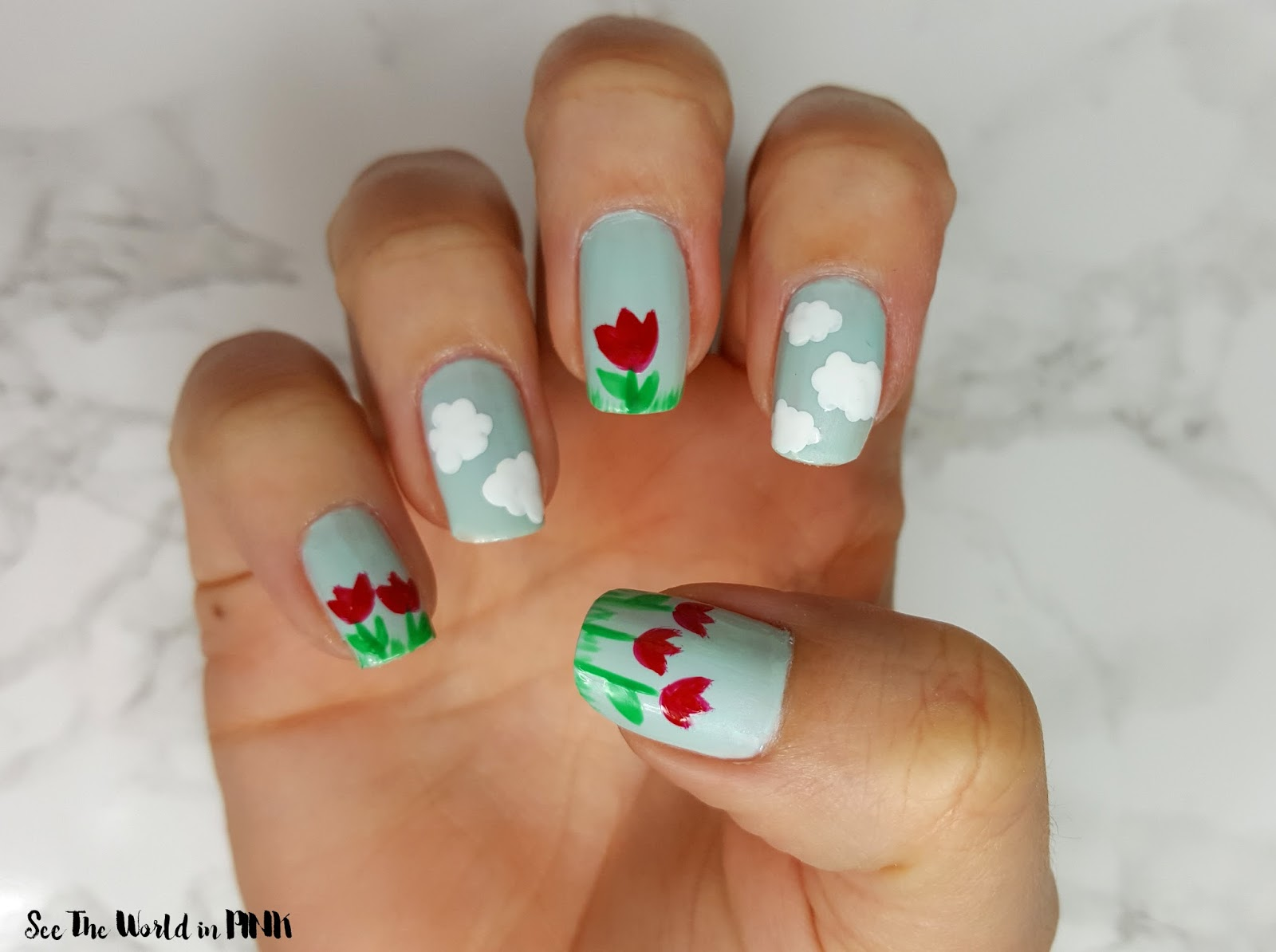 Manicure Monday - Floral Nails ~ Tulips and Clouds Nail Art + How-to!