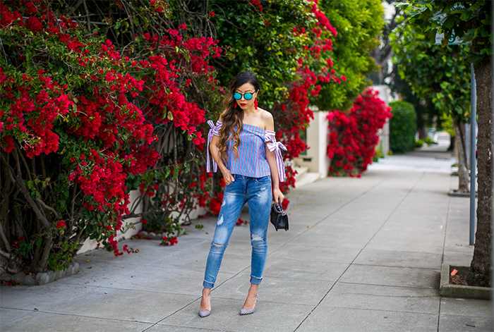 Stripe bow off shoulder top, distressed jeans, baublebar tassel earrings, chanel boy bag, strip pumps, mirrored sunglasses, the best july4th sales, july 4th sales, san francisco fashion blog, san francisco street style