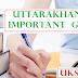Uttarakhand Important  GK question