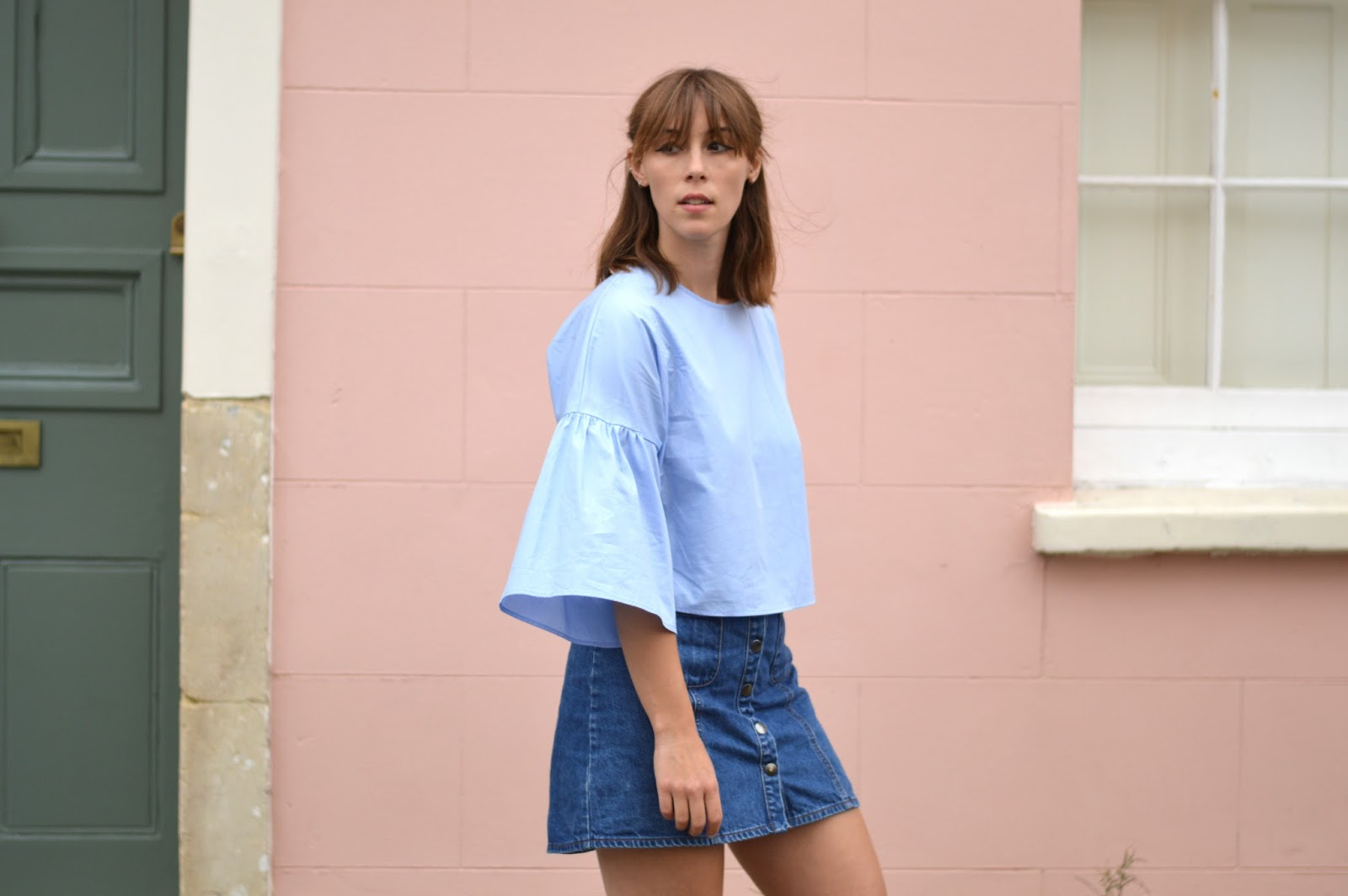 Zara frilled sleeve top