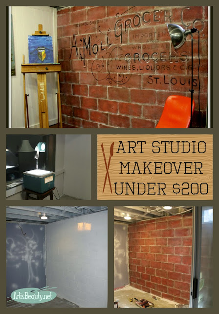 Playroom makeover reveal turned Art Studio for under $200 diy painted cinder block wall mural MCM
