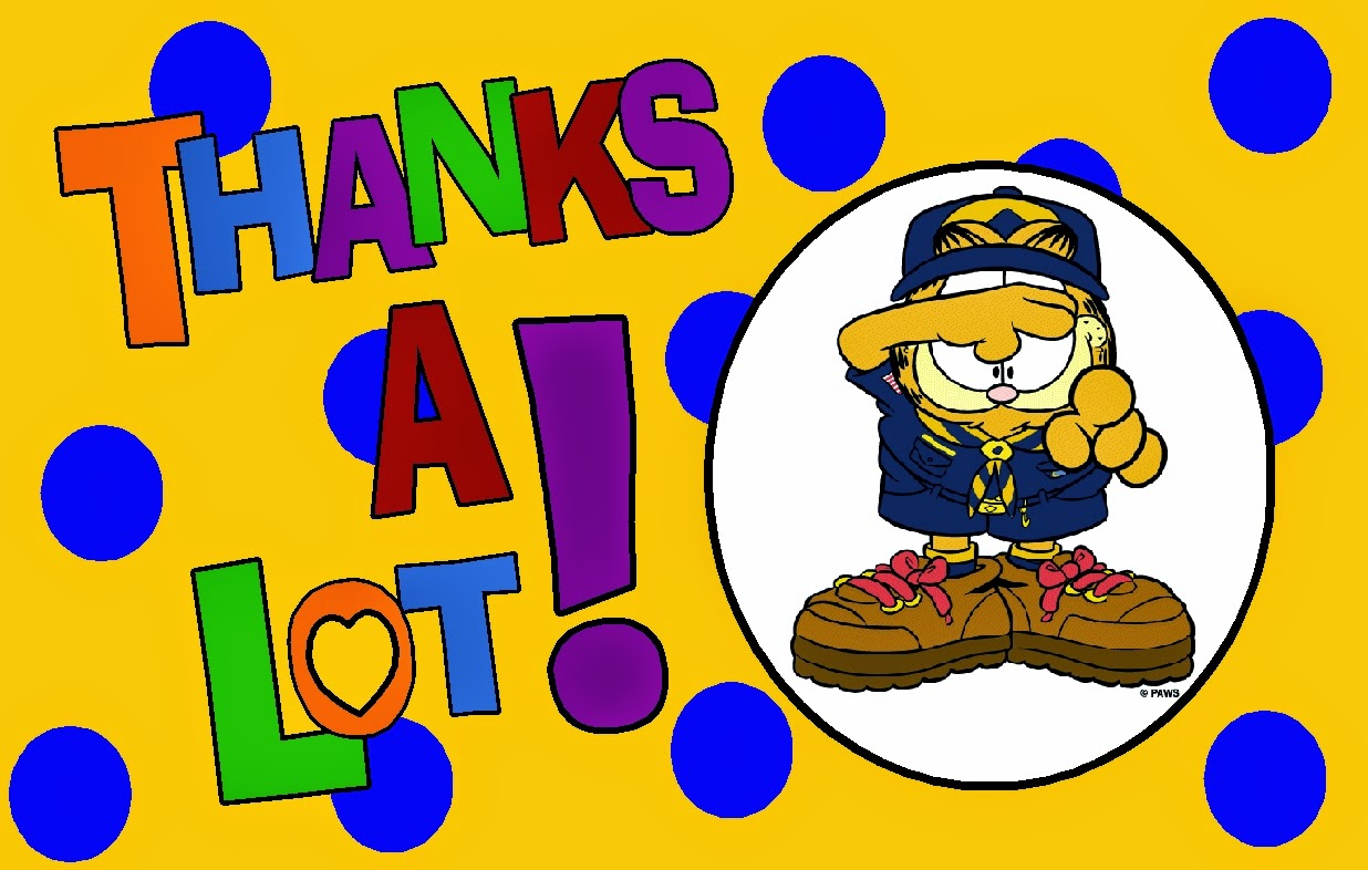 cub scout garfield image thank you card thanks a lot great clipart image of garfield [ 1236 x 786 Pixel ]