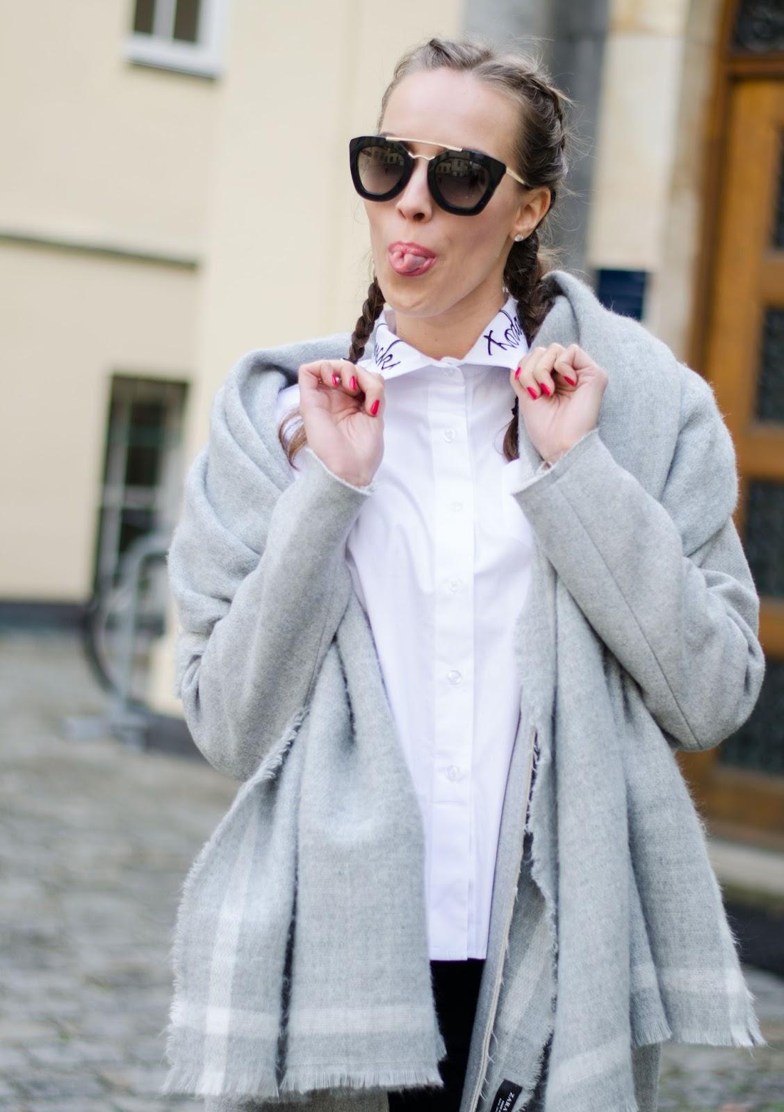 kristjaana mere french braids white collar shirt with text