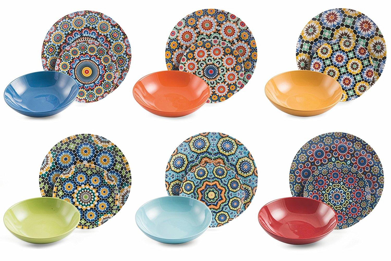 Villa d'Este Home Tivoli Marrakech Servizio Tavola Pezzi, Porcellana, Multicolore, 18 Unità