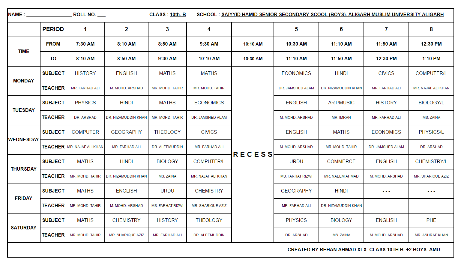 Secondary School Timetable Template Zrom