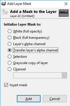 Kotak dialog layer mask untuk memasukkan foto ke tulisan di GIMP