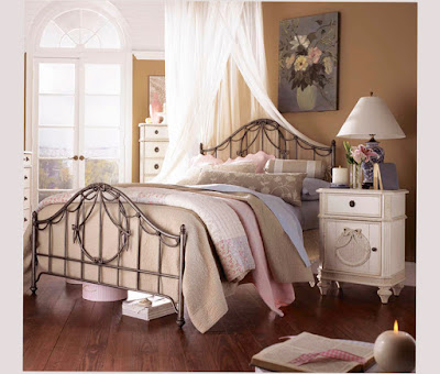 Decorating Ideas For Vintage Bedroom Design with Beige Bed in Metal Frame and a Cabinet Best Photo