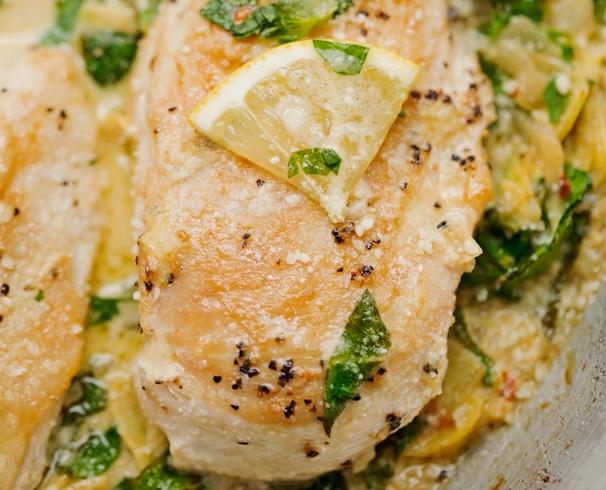 Skillet Chicken With Spinach Artichoke Cream Sauce