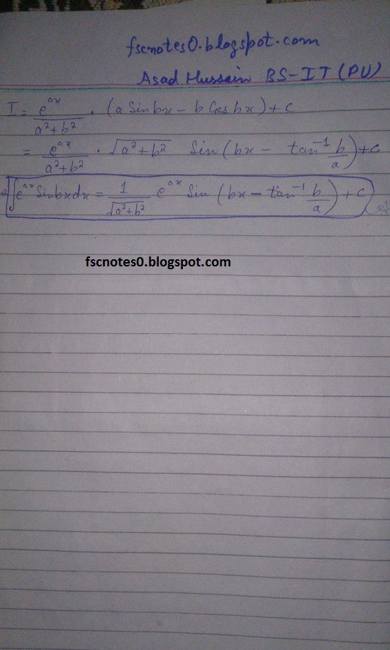 FSc ICS Notes Math Part 2 Chapter 3 Integration Exercise 3.4 Question 2 & 3 by Asad Hussain 7