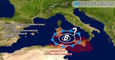 المعهد الايطالي للرصد الجوي: إعصار استوائي يمكن أن يمر بين تونس وإيطاليا