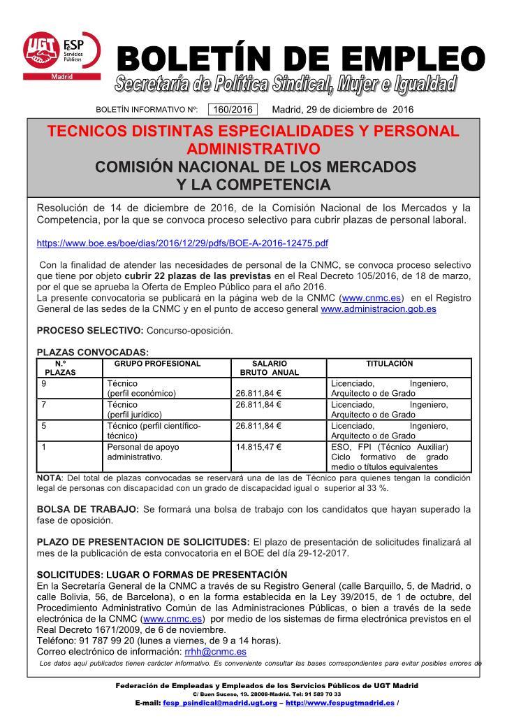 Ugt mara on ofertas de empleo cnmc y metro de madrid - Ofertas de trabajo en madrid ...