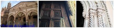 particolari del pronao con colonna araba e portone medievale