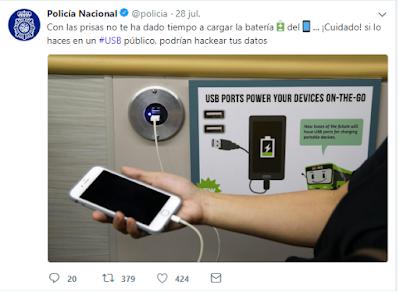 Evita cargar el Smartphone en USB públicos.