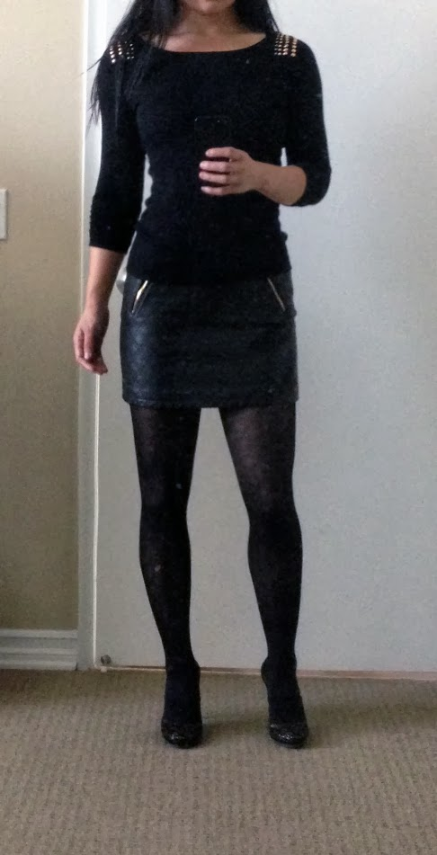 950b34afa I'm not normally a fan of black on black when the two fabrics are  different, but whatever! At least my Adrienne Vittadini diamond tights have  matching ...