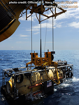 Deep Submergence Unit releases the U.S. Navy Submarine Rescue Diving and Recompression System's Pressurized Rescue Module Falcon photo credit by Official U.S. Navy Page