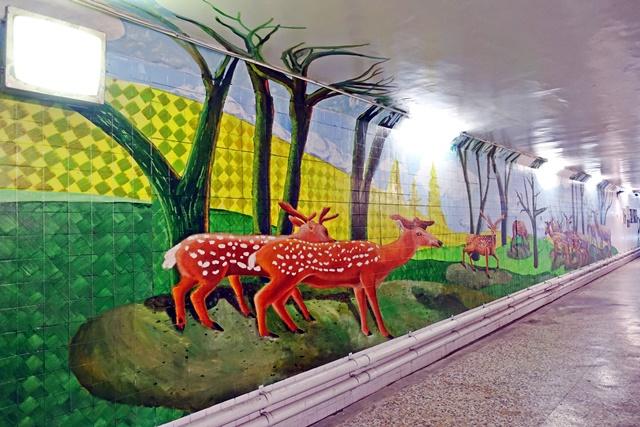 衛民人行地下道3D彩繪台南旅遊景點