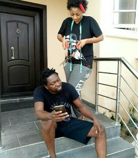 Funny Photos Of Klint Da Drunk's Wife Cutting His Hair With Pruning Shears