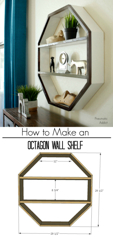 easy how to build tutorial octagon hexagon geometric modern wall shelf