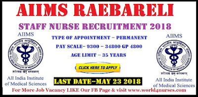AIIMS Rae Bareli Staff Nurse Grade 1 Recruitment 2018