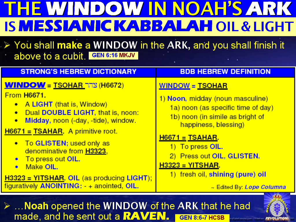 The BIBLE EXPLAINER & REVELATOR: Q485: The WINDOW of Noah's