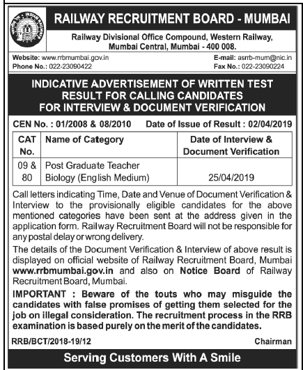 RRB Mumbai Interview & Document Verification 2019 / Post Graduate Teacher Biology: