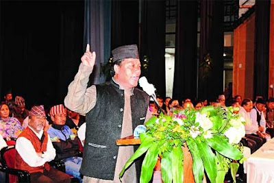 Bimal Gurung addresses Morcha members at Gorkha Rangamanch Bhavan in Darjeeling