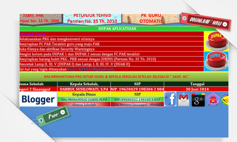 Aplikasi Dupak Lama dan Baru dengan Excel - PK Guru dan Kepala Sekolah Otomatis