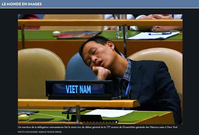 Image result for (Tham tán Nguyễn Nam Dương của VN tại LHQ ngủ gật ngày 25/9/18)