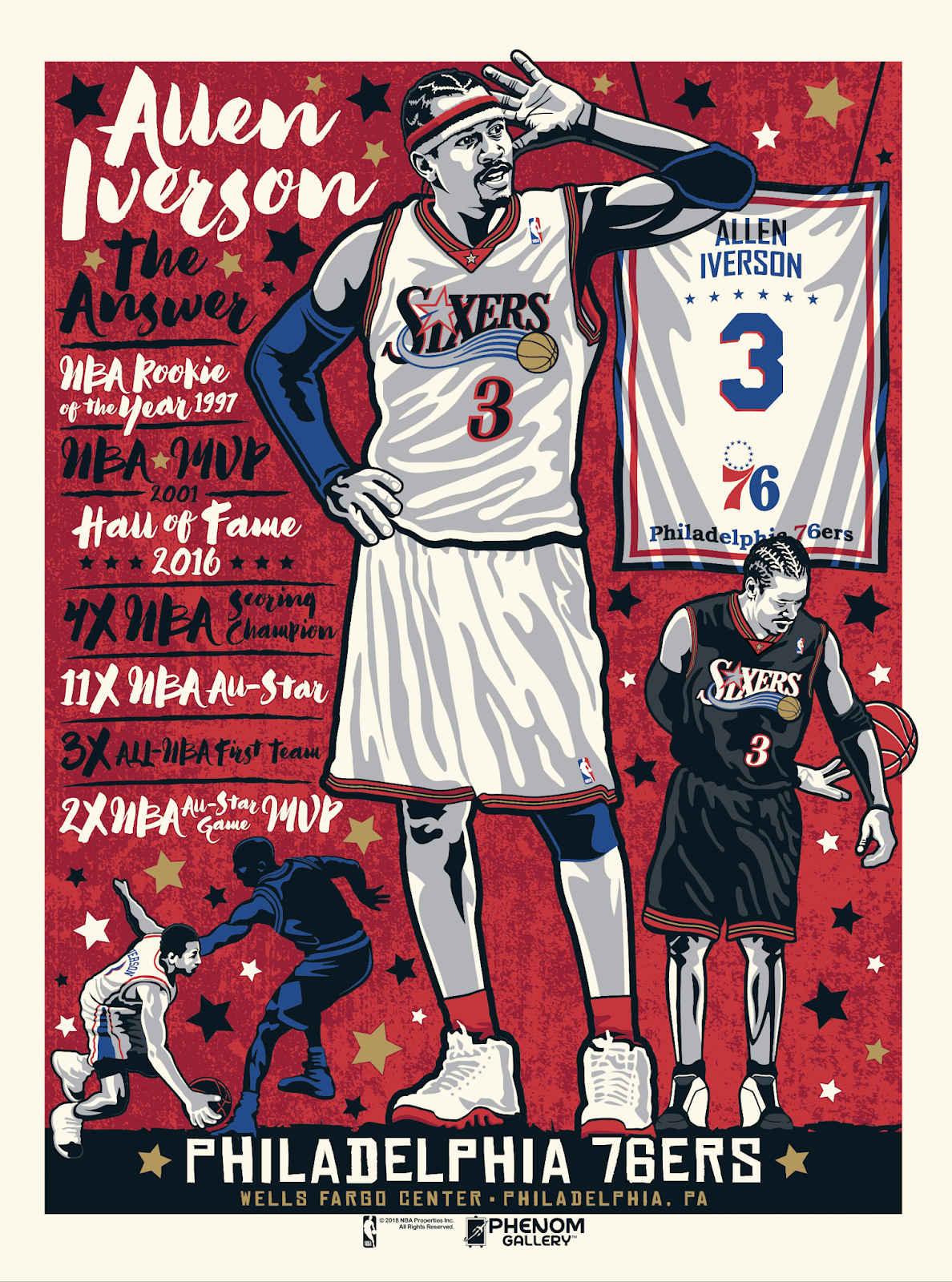 "d82d8a615 Philadelphia 76ers ""The Answer"" Allen Iverson Screen Print by Stolitron x  Phenom Gallery"