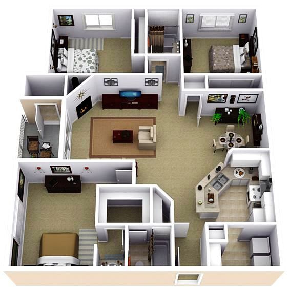 Gambar Denah Rumah 3 Kamar Tidur Ukuran 6 X 12