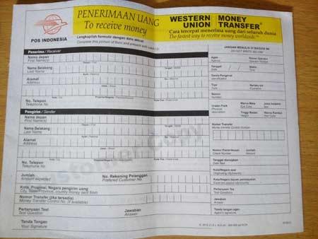 Formulir - Cara Tarik Uang di Western Union