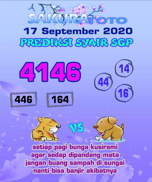 Syair Sakuratoto SGP Kamis 17 September 2020