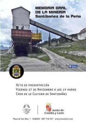 Cartel de la Memoria Oral de la Minería de Santibañez de la Peña.